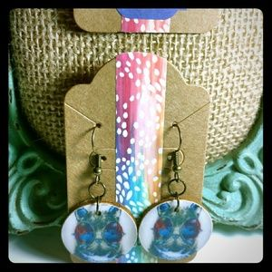 Jewelry - Cat with Galaxy Glasses Earrings
